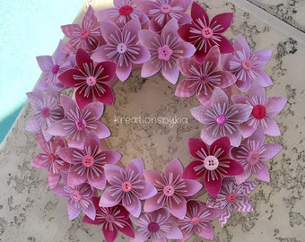 Origami Paper Flower Wreath / wedding decorations, origami, paper flowers, kusudama, paper flower wreath, paper wreath, wall decor, nursery