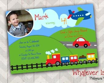 Planes Trains and Automobiles! Birthday Invitation
