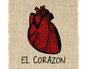 El Corazon Unframed Print, Burlap Screen print, Anotomical Heart, Mexican, Spanish, Loteria, Wall Art, Wall Decor