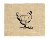 Chicken Cuts Unframed, Vintage chicken art, Burlap Art, Art for the Kitchen, Chef, Cook