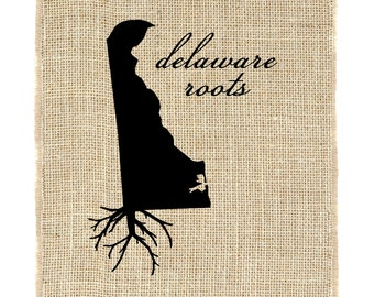 Delaware Roots Unframed, Delaware Wall Art, Burlap Print, Custom Wall Art, Know your roots, Custom State Outline