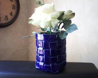 Cobalt Blue Ceramic Basket