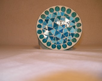 Round fimo glass pillar plate candle holder (Baby Blue)
