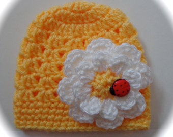 Crochet baby beanie hat newborn  0 3 6 9 12 month red or yellow hat with daisy flower & ladybug photography photo prop