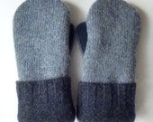 Wool Mittens - Children's - Small - Felted Sweater Mittens - Navy Blue/Blue  - Felted Wool Mittens
