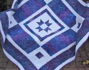 Quilt, Lap Quilt, Sofa Quilt, Quilted Throw - Four Corners Batik Lap Quilt in Purple