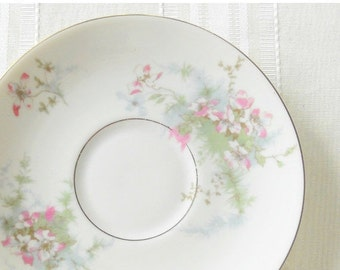 Antique Haviland Apple Blossom Saucers, Set of 4, French Country, French Farmhouse, Cottage Style, Dessert Plates, Tea Party, Ca. 19
