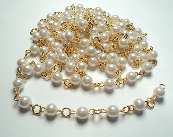 5 ft- Gold plated plated 6mm white pearl link chain -m294