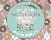 "Printable Donuts & Pajamas Child's Birthday Party Invitation - 4x6"" or 5x7"" - Jammies|Kids|Children|Bday|Sleepover|Slumber Party|Toddlers"