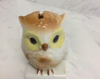 Darling vintage porcelain owl coin bank, made in Japan
