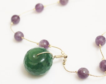 Amethyst and Green Agate Necklace, Gold Purple Necklace, Unique Jewelry, February Birthstone Necklace