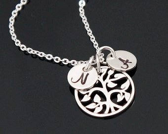 Family Tree Initial Necklace, Tree of Life Necklace, Personalized Mother's Necklace, 1 up to 8 Initials, Sterling Silver.