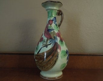 Vintage Peacock Bird Vase Unique Hand Painted Made in Japan