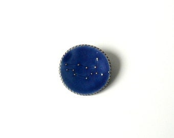 Virgo Constellation Brooch in Midnight Blue with Gold Stars, Something Blue, Valentine's Day gift by Cecilia Lind, StudioLind