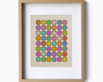 Colorful pattern design on faux linen art print poster