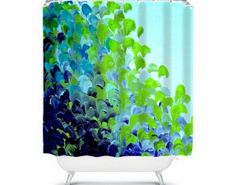 CREATION IN COLOR Blue Green - Ocean Waves Art Painting Shower Curtain Washable Decor Turquoise Lime Splash Ombre Modern Stylish Bathroom