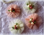 Chiffon Flowers Sewing Applique, Beige / Mauve, x 4, For Bridal, Apparel, Accessories, Costumes, Mixed Media
