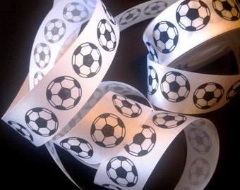 "Soccer Ball Ribbon, White / Black 1 3/8"" inch wide, 1 yard, For Mixed Media, Gifts, Scrapbook, Home Decor, Accessories"