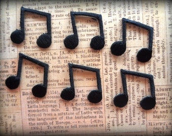 Musical Eight Note Iron-On Embroidered Appliques, 1 X 1 inches, Black x 6, For Apparel, Stationary, Scrapbook, Apparel, Altered Art