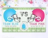 10 Custom Baby Gender Reveal Scratch Off Cards - Football Team Pink VS Team Blue