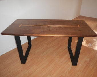 Mid Century Modern / Industrial / Live Edge / Natural Edge Dining Table / Black Walnut / George Nakashima Style Table