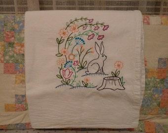 Spring Bunny Flour Sack Dish Towel