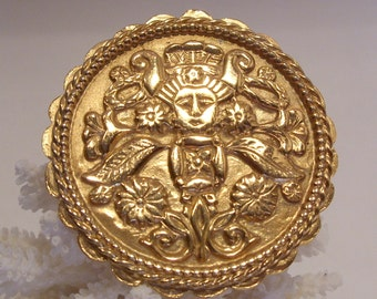 Napier Large Round  Brooch with Embossed Asian Woman and Flower Motif