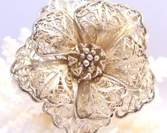 Flower Pin of Sterling Silver Filigree