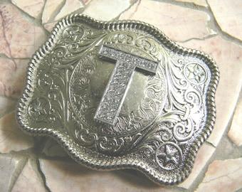 Letter T Monogram Personalized Silver Belt Buckle, Rhinestone Initial T Graduation Gift, Womens Mens Kids Western Belt Buckle, Custom Buckle