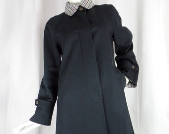 90s vintage Paul Smith Black label houndstooth & navy swing style trenchcoat/: size UK44- fits US 8 woman