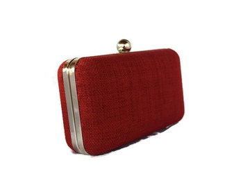 Poppy Red minaudiere box  clutch, bridal accessory, Bridesmaids gift clutch, Red wedding purse/ Valentine's day purse/ Evening clutch