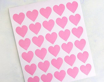30 pink hearts stickers