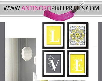 Love Yellow Greys White Wall Art Vintage / Modern Inspired -Set of 4 - 8x11 Prints -  (UNFRAMED)
