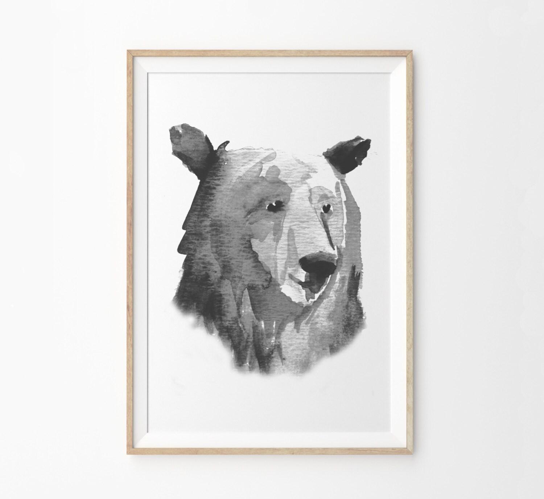 bear head art print woodland nursery wall art print gender
