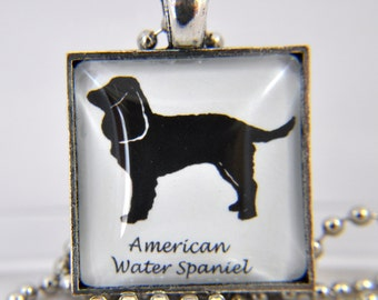 American Water Spaniel - Dog Breed Silhouette - Dog Silhouette Necklace - Dog Breed Necklace - Dog Breed Jewelry - Dog Breed Pendant