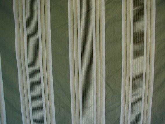 Vintage Round Tablecloth Green Ticking Stripes 100 Cotton