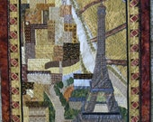 The City of Light, Eiffel Tower, City Landscape Scene in Paris, France, Handmade Wall Hanging Art Quilt