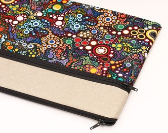 "Macbook Pro 13"" case, 12 inch laptop sleeve, 13 Macbook Air, custom 13"" laptop case zipper front pocket colorful dots circles in black"