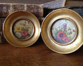 Pair Round Gold Frames, Italian Tole Florentine, Floral Chalk Plaster Pictures, Wall Plaque Miniatures, Gold Gilt Frames