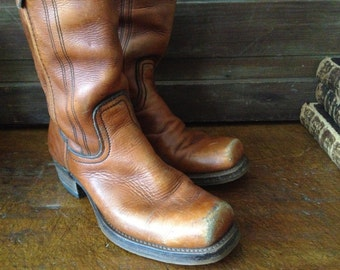 1970s Leather Riding Boots Cognac Brown Handcrafted Mens Size 9  9,5 US