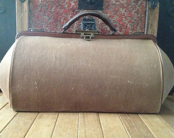 French Doctors Gladstone Bag, Brown Canvas Case, Carpet Bag, Tool Case