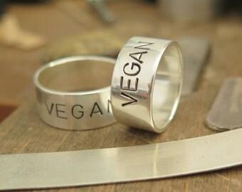 Vegan ring,sterling silver,Vegan jewelry, Wedding promise Band, Silver purity ring, sterling silver