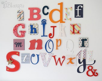 """Wooden Alphabet Letter Set  6"""" - 12"""" - Nursery Wooden Letters A-Z -Educational  letters --Playroom-Child room Decor-ABC Wall"""