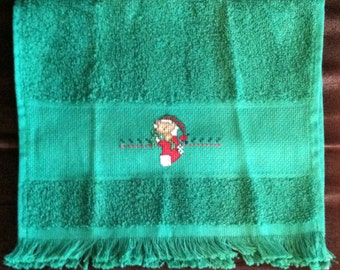 Teddy Bear Stocking Christmas Fingertip Towel in Green