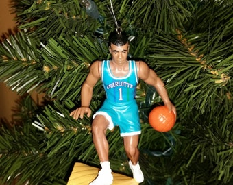 Charlotte Hornets Muggsy Bogues,Larry Johnson or Alonzo Mourning  or Glen Rice  basketball christmas ornaments