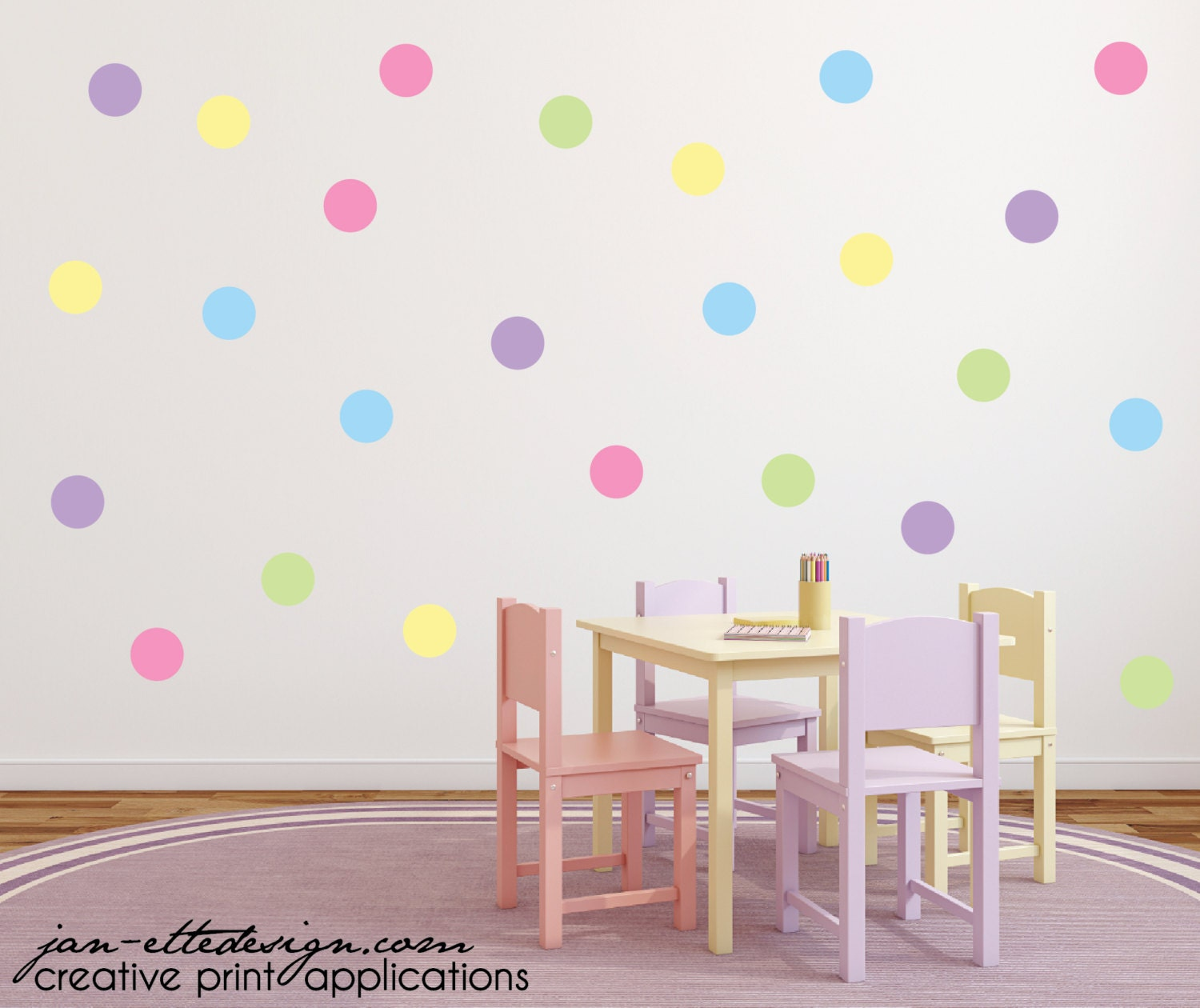 polka dot wall stickers dot wall decals circle wall decals. Black Bedroom Furniture Sets. Home Design Ideas