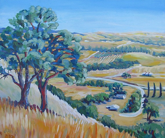 Midday Oak Hillside - Original Painting by V. Hadady, BFA, MA