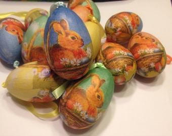 set of 6 large paper mache eggs, 35 x 60 mm (R6)