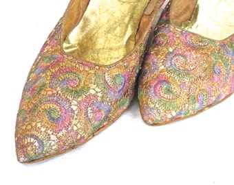 Prom Shoes, 1980 Brocade High Heel  High Fashion  Vintage Pumps, Spring Shoe Wardrobe, Pastel on Gold Shoes, High Heeled Pumps, Womens Shoes