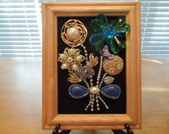 Jewelry Art, Floral Art, Flower Picture Made From Vintage Jewelry, 9 x 7 inches